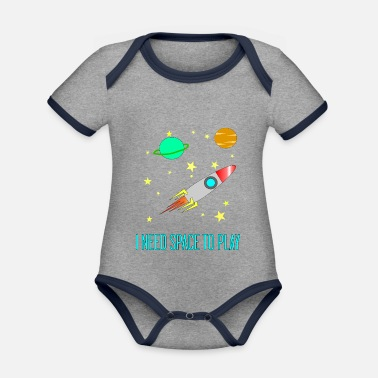 I Need Space To Play, Funny, For Kids, Gift idea, - Organic Contrast Baby Bodysuit