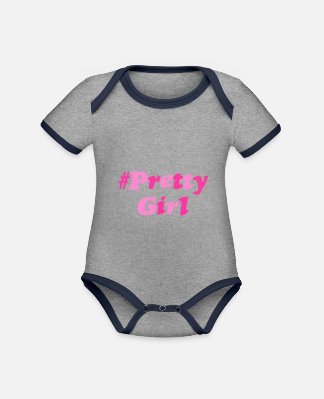 Pretty Pretty Baby Bodysuits - Pretty woman girl - Organic Contrast Baby Bodysuit heather grey/navy