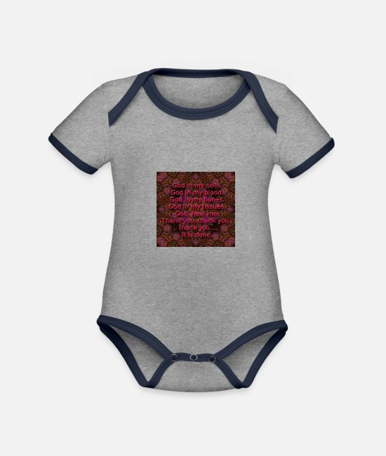 Quote Baby Bodysuits - quotes - Organic Contrast Baby Bodysuit heather grey/navy