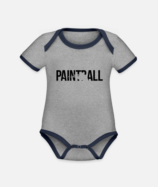 Sport Baby bodies - paintball - Rompertje tweekleurig grijs gemêleerd/navy