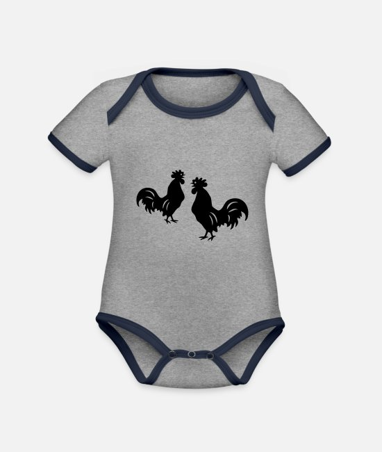 Nature Baby Bodysuits - rooster - Organic Contrast Baby Bodysuit heather grey/navy
