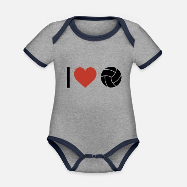 Sports I heart volleyball sport - Organic Contrast Baby Bodysuit