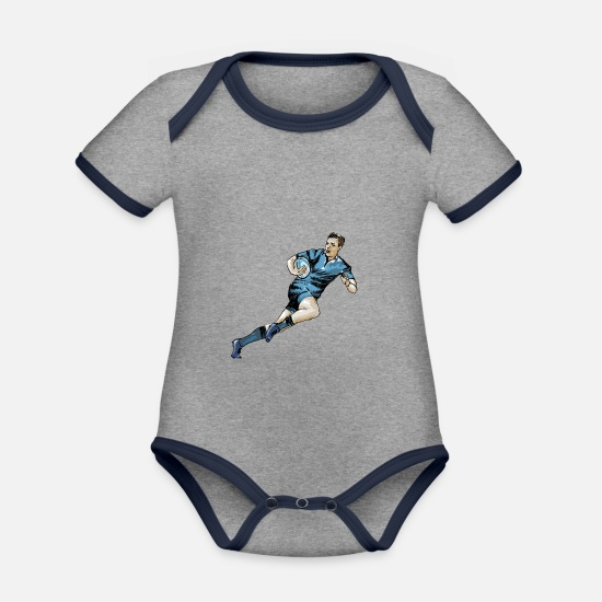 Rugby Baby Clothes - Rugby - Organic Contrast Baby Bodysuit heather grey/navy
