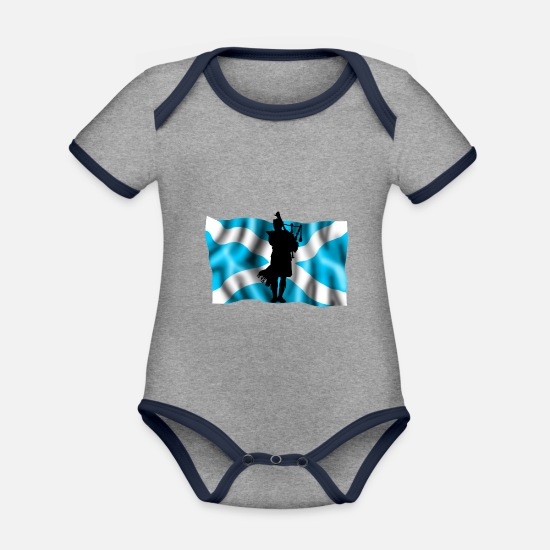 Scotland Baby Clothes - Scotland - Organic Contrast Baby Bodysuit heather grey/navy