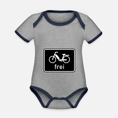 50 Cm³ Bicycle path - moped free sign, 25 km / h, 50cc - Organic Contrast Baby Bodysuit