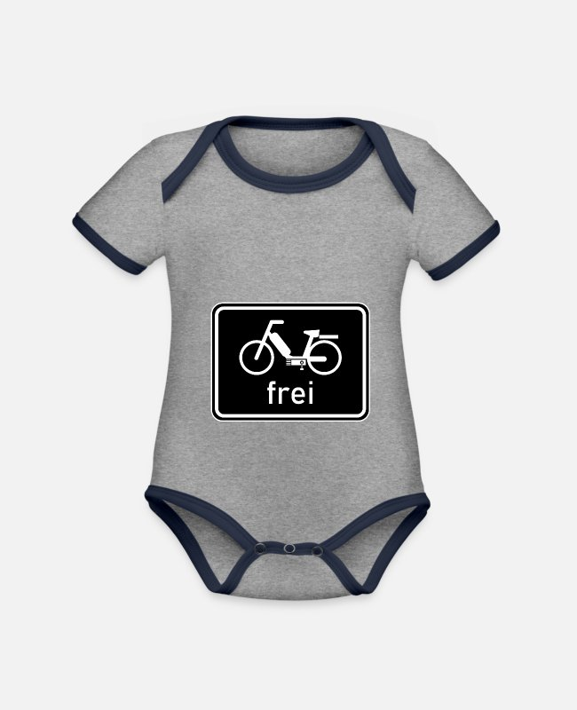 Vehicle Baby Bodysuits - Bicycle path - moped free sign, 25 km / h, 50cc - Organic Contrast Baby Bodysuit heather grey/navy