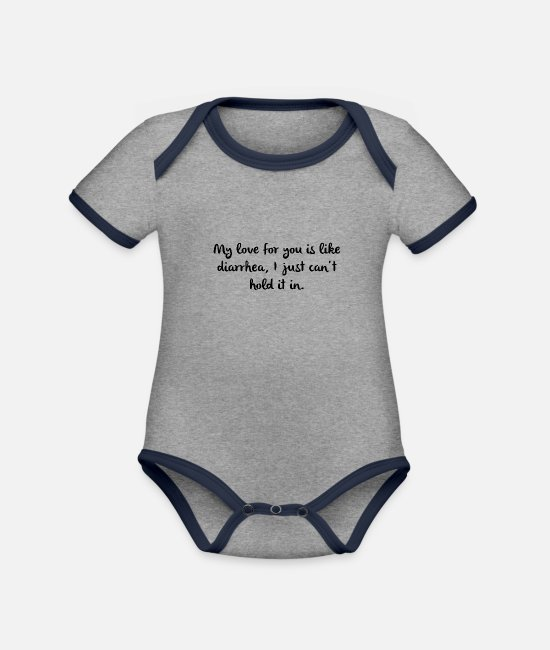 Sexy Baby Bodysuits - Naughty Attack Women Men Flirt Sexy - Organic Contrast Baby Bodysuit heather grey/navy