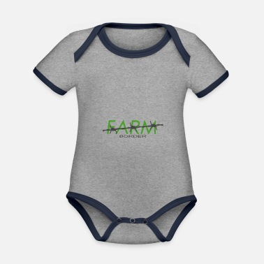 Farming Farm border - farm border - Organic Contrast Baby Bodysuit