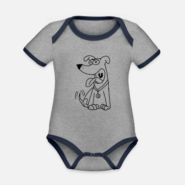 Dog Friendly friendly dog in comic style - Organic Contrast Baby Bodysuit