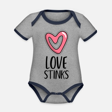 Anti Nuclear Power anti valentine s day with a deformed heart - Organic Contrast Baby Bodysuit