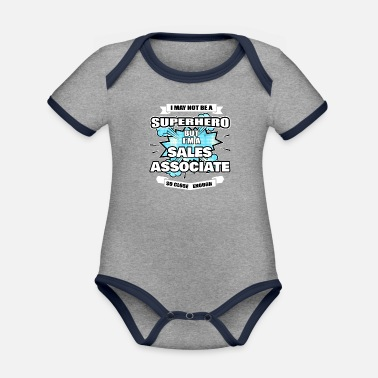 Association Sales Associate Gift Superhero Sales Associate - Organic Contrast Baby Bodysuit