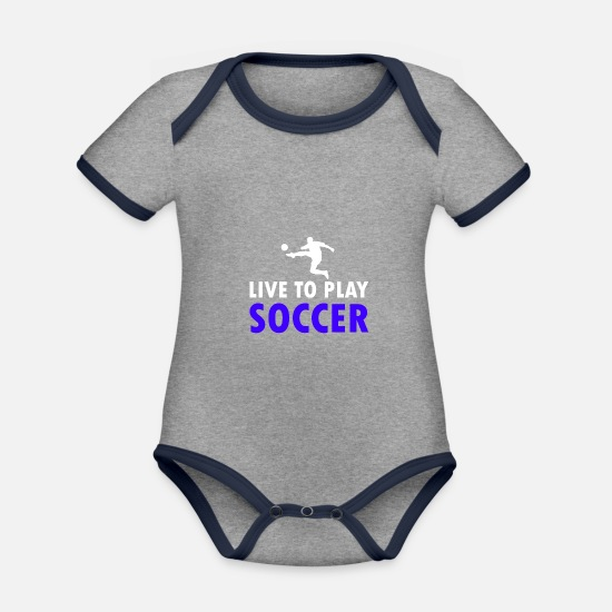 Football Game Baby Clothes - Football soccer player - Organic Contrast Baby Bodysuit heather grey/navy