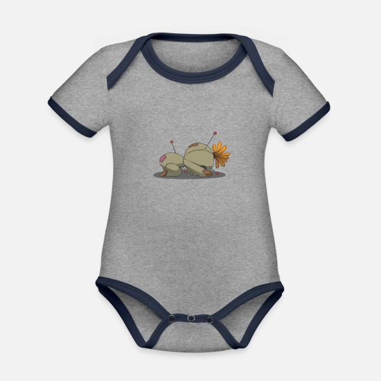 Love Baby Clothes - Yoga is not a voodoo Bālāsana pose gift idea - Organic Contrast Baby Bodysuit heather grey/navy