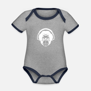 Charade Monkey head with headphones - Organic Contrast Baby Bodysuit