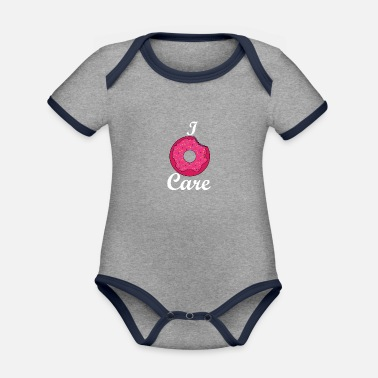 I do not care pink donut - Organic Contrast Baby Bodysuit