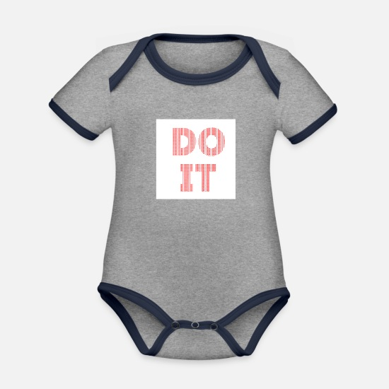 Think Baby Clothes - DO NOT DO IT - Do it! Do not do it! - Organic Contrast Baby Bodysuit heather grey/navy
