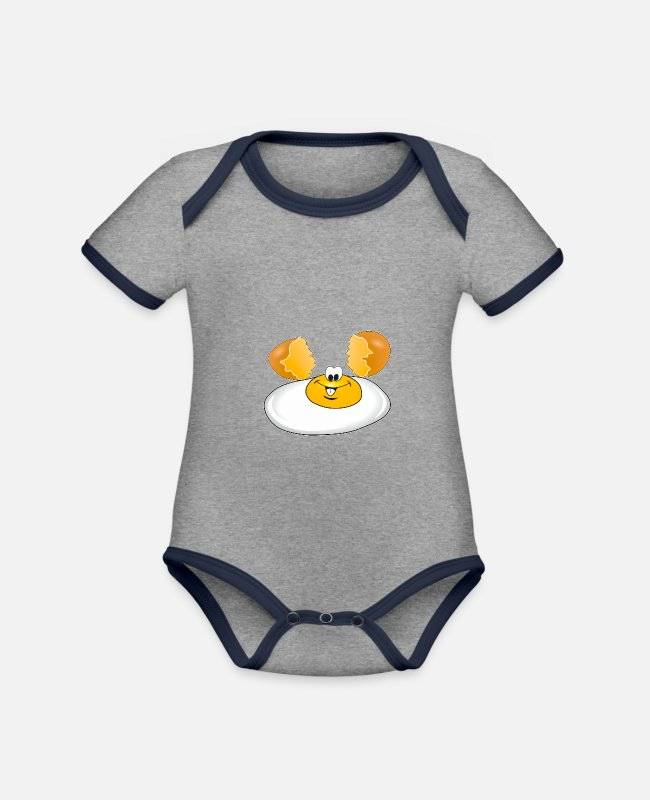 Yummy Baby Bodysuits - EGG SHELL FRIED EGG - Organic Contrast Baby Bodysuit heather grey/navy