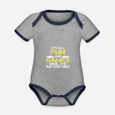 Funny Until Battery This Boat - Organic Contrast Baby Bodysuit