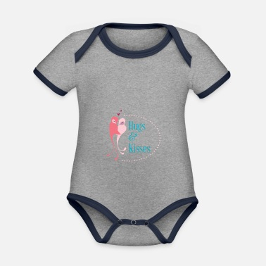 Love With Heart Hugs and Kisses - Baby Bio Kurzarmbody zweifarbig