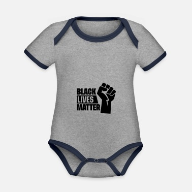 black lives matter - revolution black power faust - Baby Bio Kurzarmbody zweifarbig