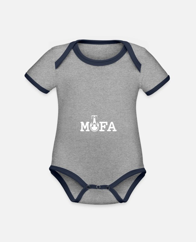 50 Cm³ Baby Bodysuits - Moped - engine pistons - 25km / h - Organic Contrast Baby Bodysuit heather grey/navy