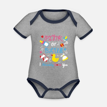 I-love-the-blues Pink Or Blue I Already Love You Gender Reveal Cute - Baby Bio Kurzarmbody zweifarbig