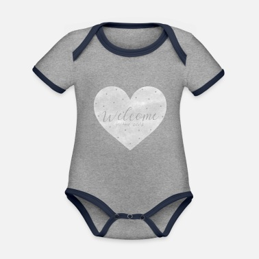 Birth Hello Welcome to the world birth baby gift - Organic Contrast Baby Bodysuit