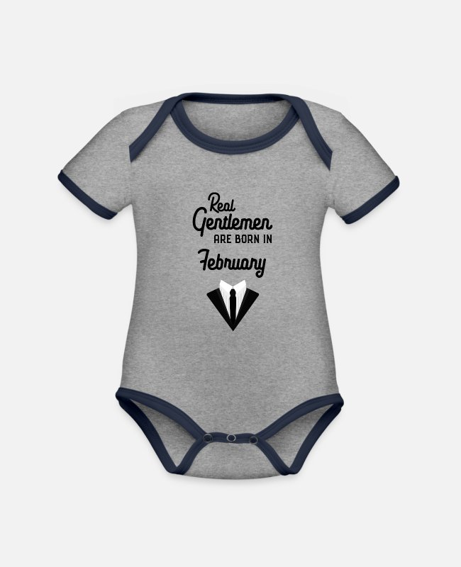 Maternity Baby Bodysuits - Real Gentlemen are born in February Sgdwb - Organic Contrast Baby Bodysuit heather grey/navy