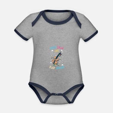 Fiddlestick Unicorn violin: keep calm and play the violin - Organic Contrast Baby Bodysuit
