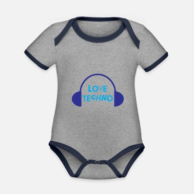 Techno Techno Love with headphone design - Organic Contrast Baby Bodysuit