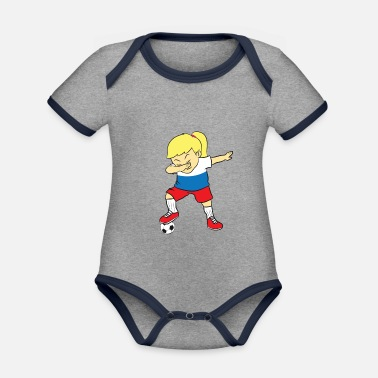 Dab Soccer player - Russia jersey, DAB, dabben - Organic Contrast Baby Bodysuit