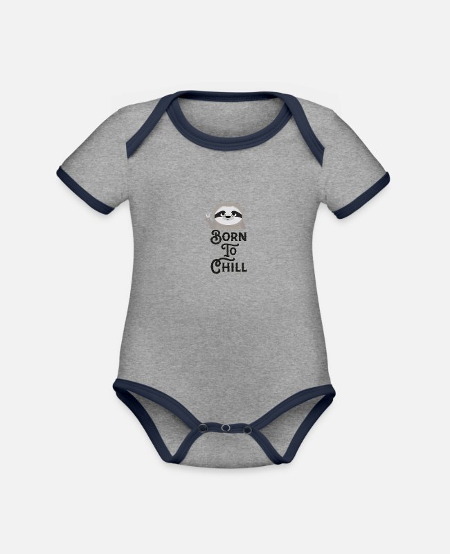 Nature Baby Bodysuits - Born to Chill Sloth Funny - Organic Contrast Baby Bodysuit heather grey/navy