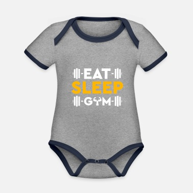 Funny Workout gym fitness gym muscles dumbbells - Organic Contrast Baby Bodysuit
