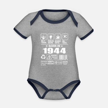 Born In Febuary Born In 1944 - Organic Contrast Baby Bodysuit