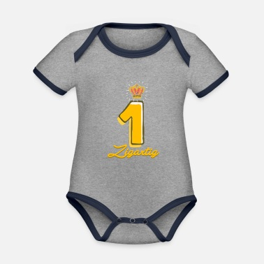 1 1. birthday boy 1 year gift crown unique - Organic Contrast Baby Bodysuit