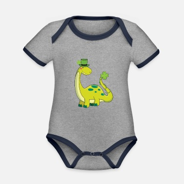 St Paddys Day Dinosaur St Patricks Day Dino Kids with Shamrock - Organic Contrast Baby Bodysuit