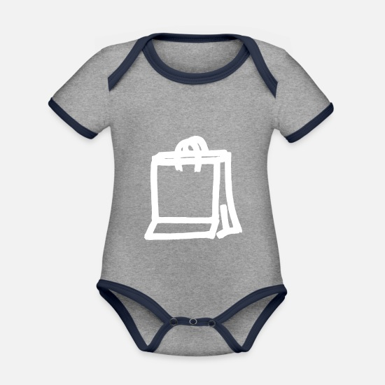 Shopping Frenzy Baby Clothes - Shopping Shopping Shopping Bag Shop Outlet - Organic Contrast Baby Bodysuit heather grey/navy