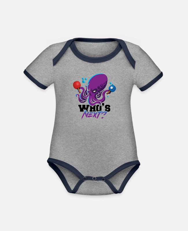 Competition Baby Bodysuits - Who is the next funny octopus table tennis - Organic Contrast Baby Bodysuit heather grey/navy
