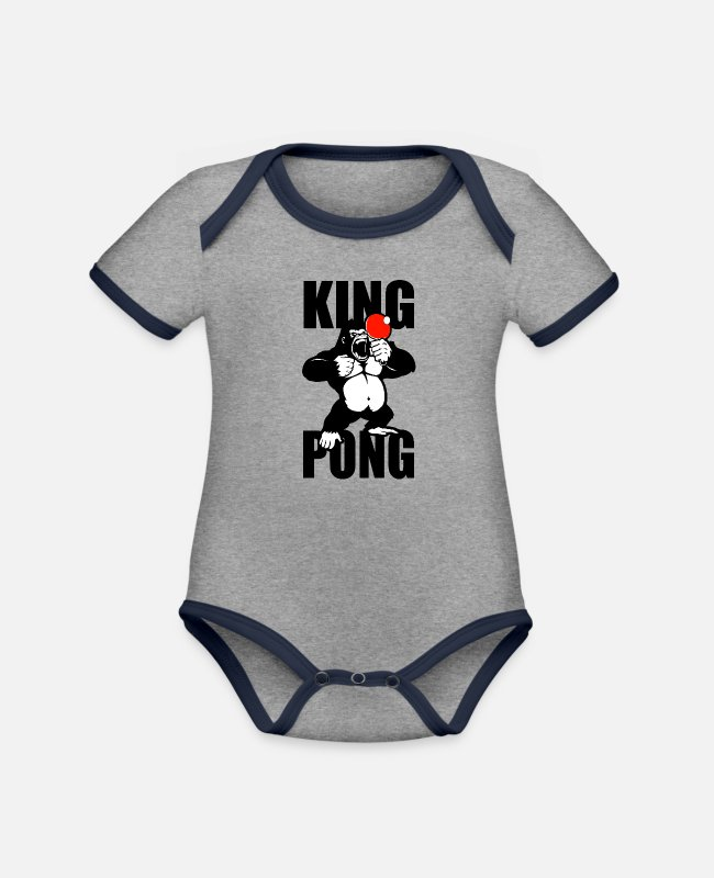 Competition Baby Bodysuits - King Pong - Organic Contrast Baby Bodysuit heather grey/navy