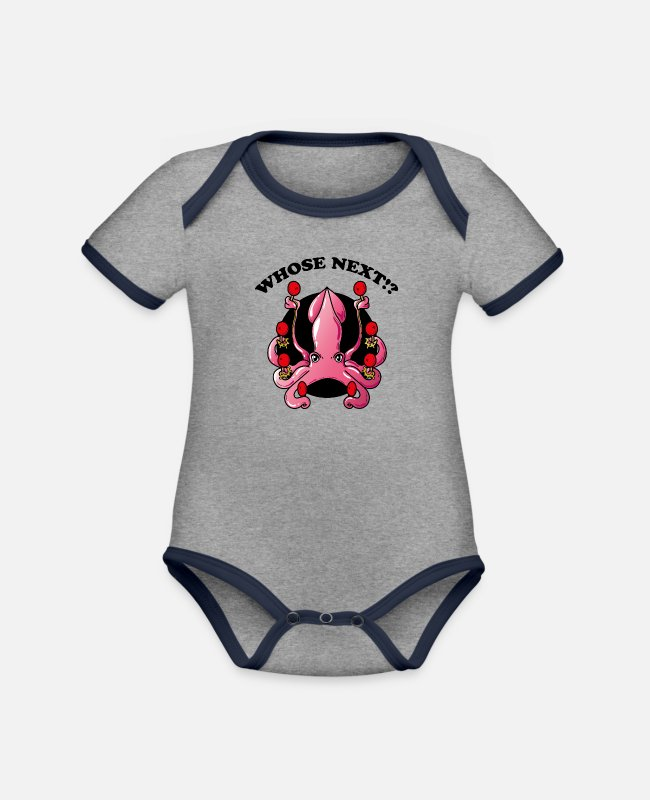 Competition Baby Bodysuits - Octopus Table Tennis Tennis Player Tennis Ball - Organic Contrast Baby Bodysuit heather grey/navy