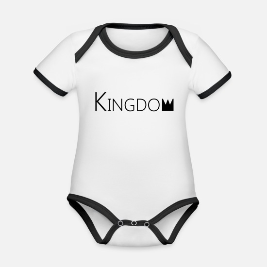 English Baby Clothes - kingdom - Organic Contrast Baby Bodysuit white/black