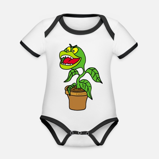 Birthday Baby Clothes - Carnivorous plant - Organic Contrast Baby Bodysuit white/black