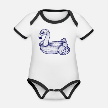 Hand Flamingo - swimming ring - Organic Contrast Baby Bodysuit