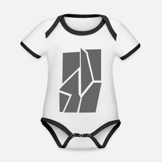 Broken Baby Clothes - Broken gray - Organic Contrast Baby Bodysuit white/black