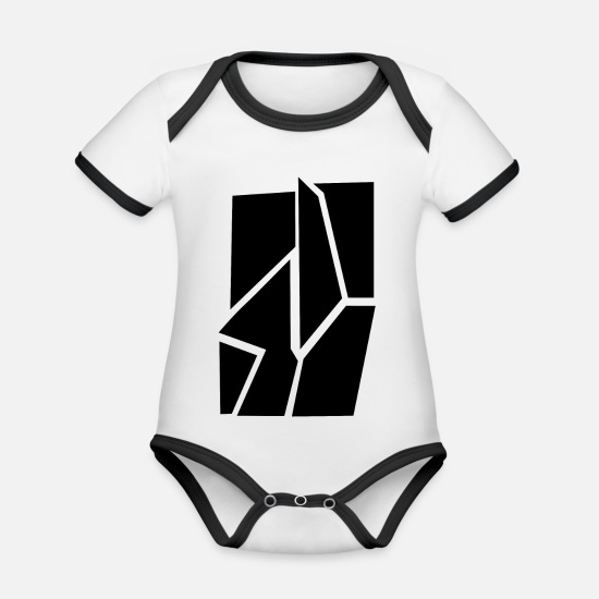 Broken Baby Clothes - Broken black - Organic Contrast Baby Bodysuit white/black