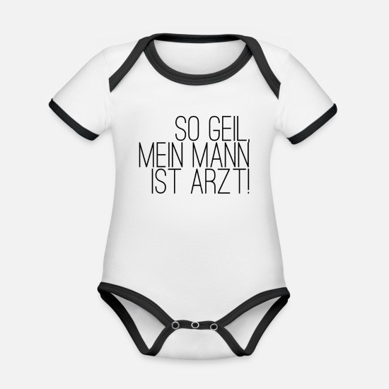 Doctor Baby Clothes - doctor - Organic Contrast Baby Bodysuit white/black