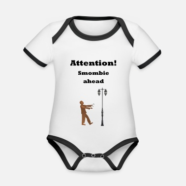 Attention, Smombie ahead - Baby Bio Kurzarmbody zweifarbig