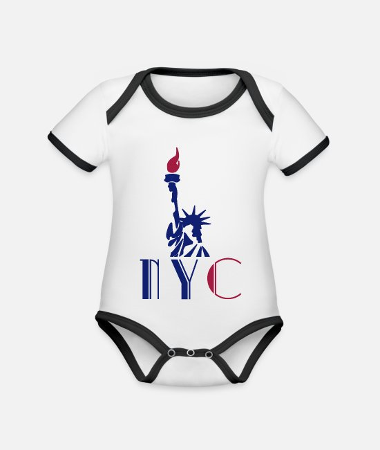 Red Baby Clothes - NYC - Statue of Liberty - Statue of Liberty - Organic Contrast Baby Bodysuit white/black