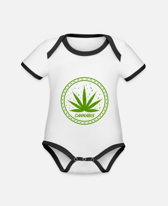 Medicine Baby Bodysuits - Cannabis shirt for your OOTD - Organic Contrast Baby Bodysuit white/black