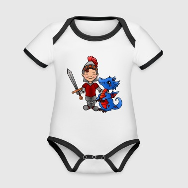 Knight with dragon - Organic Baby Contrasting Bodysuit